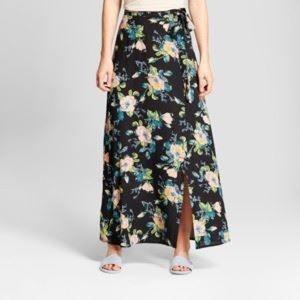 Xhilaration black floral tie wrap slit maxi skirt